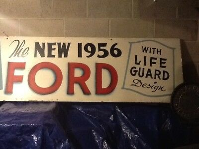 "1956 Original Ford Dealership Promo Slogan Sign 22 1/2 x 95 1/2"" from Algoma WI"