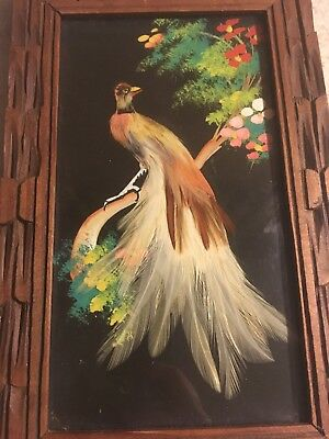 Vintage Mexican Folk Feather Craft Picture Hand Painted Multi Colored Peacock