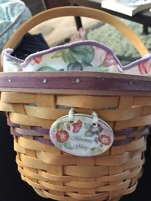 Longaberger Morning Glory Basket 2000 With Plastic Liner And Tie On Used