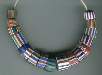 African Trade beads Vintage Venetian glass old mixed chevrons
