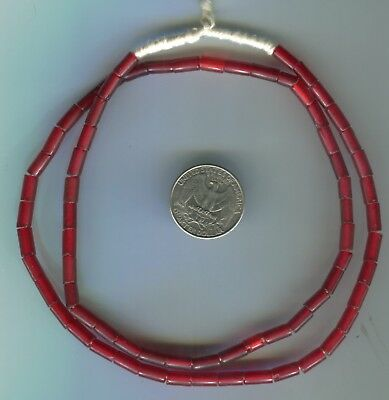 African Trade beads vintage Venetian old red glass tube beads