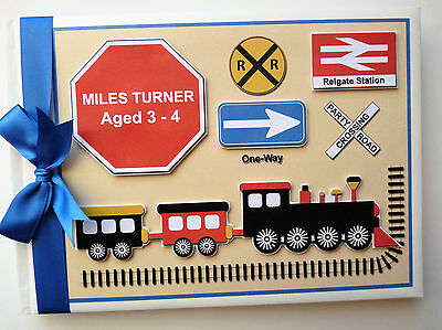 Personalised Trains Boy First/1St Birthday Guest Book Any Design
