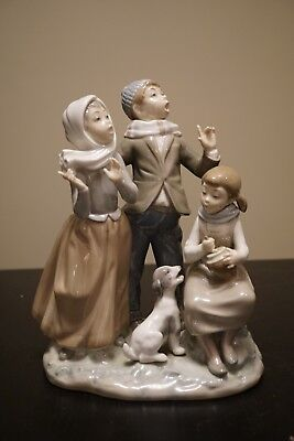 Vintage Lladro Singing Family With Dog, Christmas Carolers