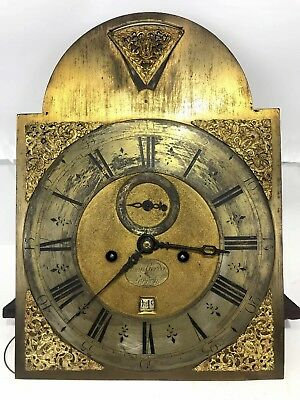 Early Antique Grandfather Clock Movement Ca.1840 Restore Brass Dial Face Running
