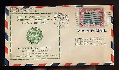 US 1931 event cover First Anniversary Airport Dedication Allentown, Pa
