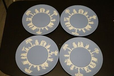 4 Wedgwood Pale Blue Solid Jasper Ware Cake Plates 1958 - Greek Figures