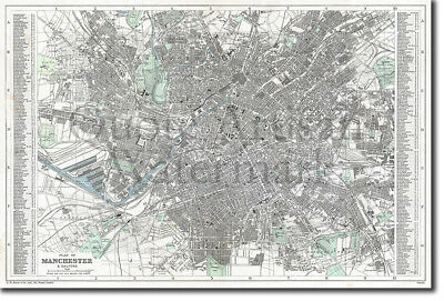 Vintage Map of Manchester From 1890 Print Poster Gift Old Ancient Historic