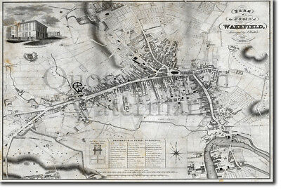 Vintage Map of Wakefield From 1823 Photo Print Poster Gift Old Ancient Historic