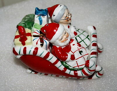 Vintage Santa and Mrs. Claus Salt & Pepper Shakers Sleigh Signed