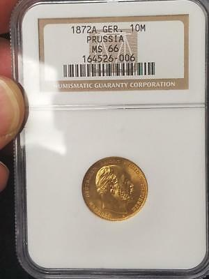 1872 A Germany 10 Mark Prussia NGC MS 66