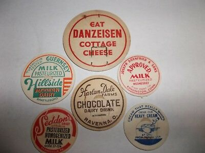 Dairy-Milk Bottle Caps-Vintage-Lot Of 6-Mixed Lot Dairies-New Old Stock
