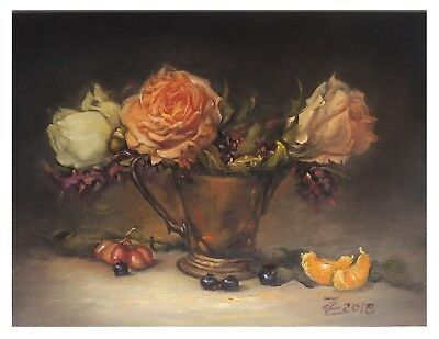 "New Original Oil Painting Still Life Realism Rose in Copper Vase 11""x19"" Signed"