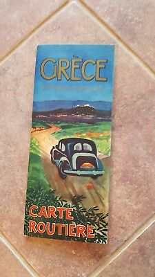 ANTIQUE, COLORED FOLDING - GREECE ROAD MAP - Automobile & Touring Club - CA 1950