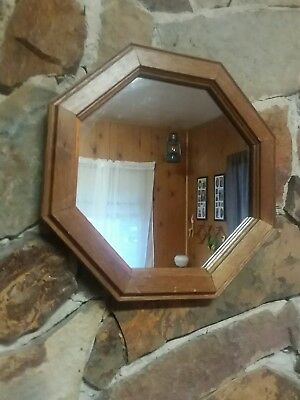 "Homco Home Interiors Mirror 11"" Octagon VGC 2 Hangers Discontinued Wood Paper Bk"
