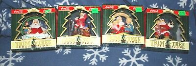 LOT OF 4 Trim A Tree Santa Coca Cola Ornaments NIB NEW 1990's new w/ box wear