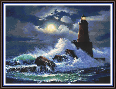 "'LIGHTHOUSE MOON' Cross Stitch Pattern (16¾""x12½"") Seascape/Detailed/Nautical"