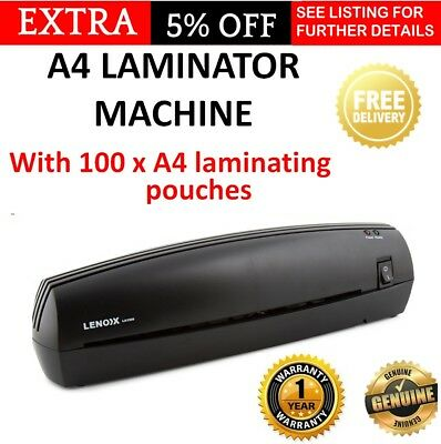 A4 DOCUMENT Laminator with 100 Laminating Sleeves Home Office Laminater Machine