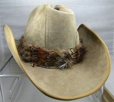 c33b1c4e792 Vintage Stetson Cowboy Western Tan Suede with Feathers Hat Size 7 1 4 -  Preowned