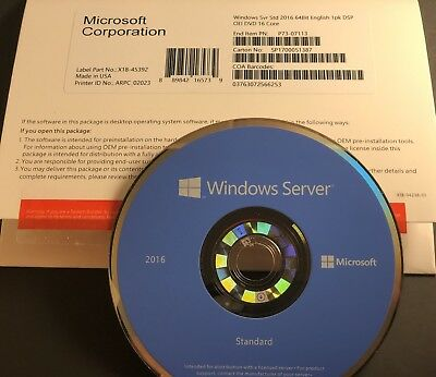 Microsoft Windows Server Standard  2016 2CPU- 16 core-2VM Brand N OEM Pack