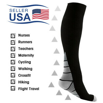 Compression Socks for Running Sports Fitness Cross Fit 15-20mmHg Knee High Sox