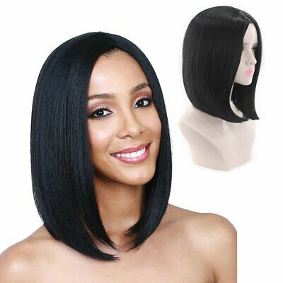 Synthetic Bob Wig Full Black Straight Wig Middle Part Heat Resistant Short Wigs