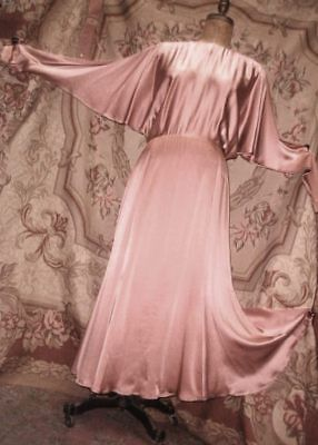 Harlow Style Art Deco SILK Tea Gown Vintage 1990s does 1930s Copper Peach Medium