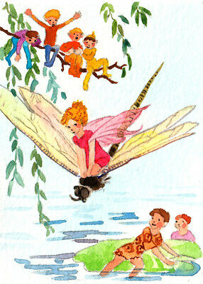 """Art print 2.5""""x3.5""""-Fairy riding on a dragonfly inspired by Margaret Tarrant"""