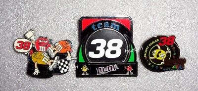 Lot of 3 Large M&M's Nascar Racing Team 38 Pins
