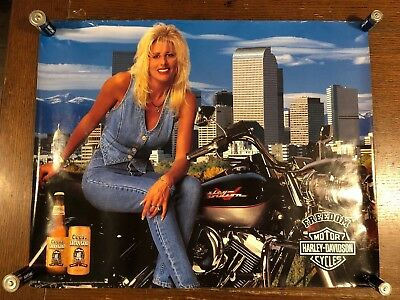 COORS Extra Gold  BEER HARLEY DAVIDSON Freedom POSTER. 1994. Free Shipping!