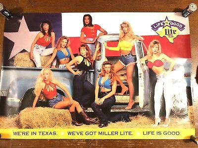 Miller Lite Life Is Good In Texas Vintage Poster. Free Shipping!