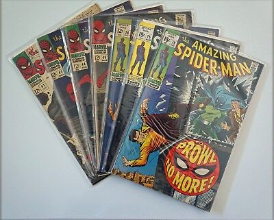 AMAZING SPIDERMAN #41,42,44,46,74,75,79,93 & 94 SILVER AGE COMIC LOT GD Stan Lee