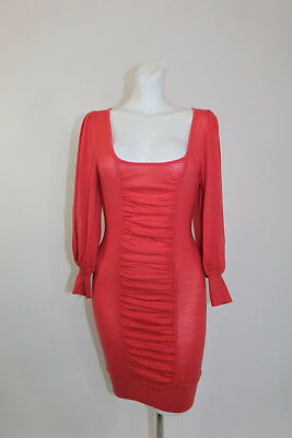 XS BEBE Coral Pink Tunic Dress Women Round Scoop Neck Ruched Long Sleeves Top