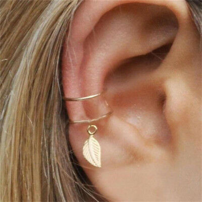 1PC Adjustable Ear Cuff Earring No Piercing Gold Plated Wrap Clip On Leaf Dangle