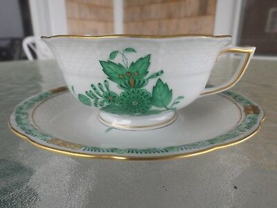 Herend Green Chinese Bouquet Coffee or Tea Cup & Saucer