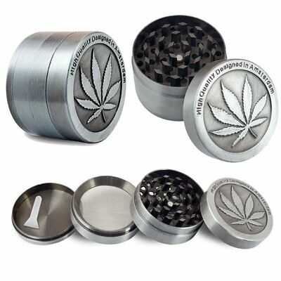 NEW Tobacco Herb Spice Herbal Zinc Smoke Crusher 4 Piece Metal Chromium Grinder