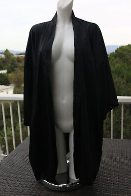 Victoria's Secret Black Silky Robe One Size Sleepwear Sexy Kimono