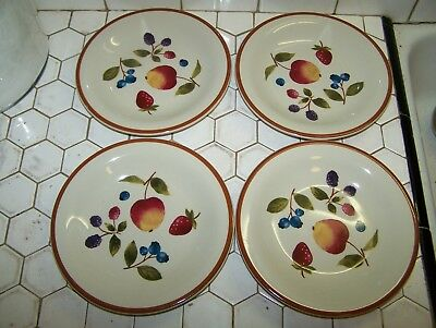 "Longaberger Set Of 4 Dessert Plates 8"" W/4 Fruits Apple,Blueberrys,Blackberrys&."