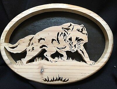STALKING WOLF coyote fox solid wood carving wall art decor handmade Cabin Rustic