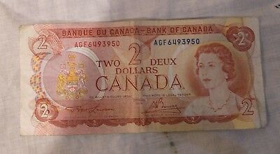 1974 Canada 2 Two Dollar AGF Prefix Canadian Circulated Banknote