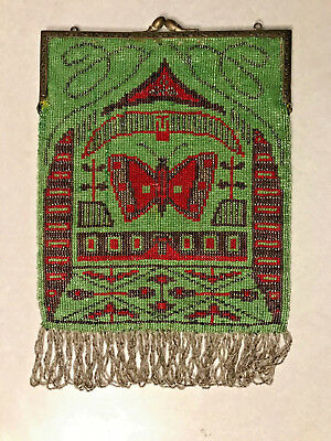 Antique Beaded Purse Germany Butterfly Green Red Art Nouveau Design