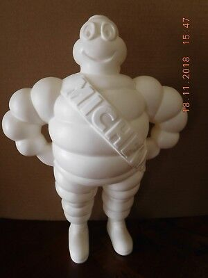 "Vintage Michelin Man Advertising Figure, 12"" Tall, White Plastic Made In France"