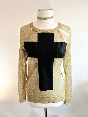 SOLD OUT NWOT UNIF Prayer Sweater Gold Metallic Cross Pullover Jumper MSRP $175
