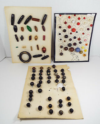 VINTAGE BUTTONS On Display Cards 106 Pieces Mixed Lot Collector's Estate  #100