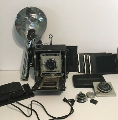 VINTAGE GRAFLEX SPEED CAMERA w/ GRAPHEX ORAFLEX 135mm LENS & Lots of Extras