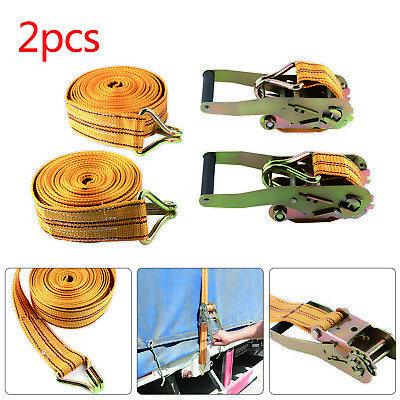 2 x 50mm 6 Meter Heavy Duty Ratchets Tie Down Straps 2 tons Lorry Lashing