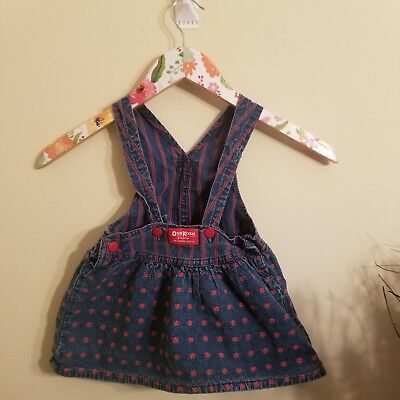 Vintage Osh Kosh Overalls Girl Size 2T Denim With Red Flowers & Stripes