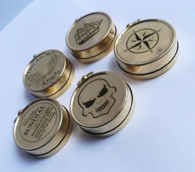 Vintage Brass Compass Personalized Gift Antique Steampunk Fashion Locket Memory