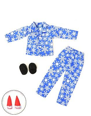 Tinsel's Boutique Elf Clothes Blue Snowflake Pajamas Lot With Shoes New