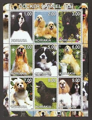 AMERICAN COCKER SPANIEL ** Int'l Dog Stamp Sheet  **Great Gift Idea**