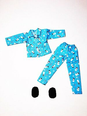 Christmas Elf Clothes Blue Snowman Pajamas Lot With Shoes New For On The Shelf